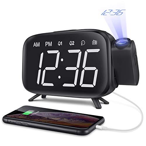 ELEHOT 目覚まし時計 デジタル時計 投影 大音量 FMラジオ スヌーズ機能 投影 180度 回転可能 壁 天井 Led画面 三階段の明るさ Usb給電 携帯充電可能 ダブルアラーム付き