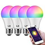 LE WiFi スマート電球 色が変わる RGBCW CCT (2700-6500K 調整可能 ホワイト) Googleアシスタント IFTTT タイマースケジュール 調光機能付き 9W A19 E26 LED電球 ハブ不要 4個パック