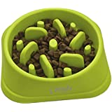 Zenify Dog Bowl Slow Feeder - Large 500ml Healthy Eating Pet Interactive Feeder with Anti-Skid Non-Slip Grip Base to Reduce Overeating Bloating Vomiting Obesity for Wet Dry Raw Food and Water (Green)