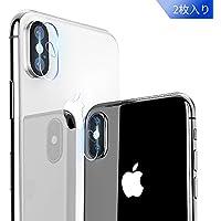 【2枚セット】iPhone X カメラガラスフィルム memumi® 強化ガラス iPhone X/XS/XS Max 対応 レンズ液晶保護ガラスフィルム 超薄型/高透過率/飛散防止/自動吸着(iPhoneX/Xs/Xs Max用, 2枚セット)
