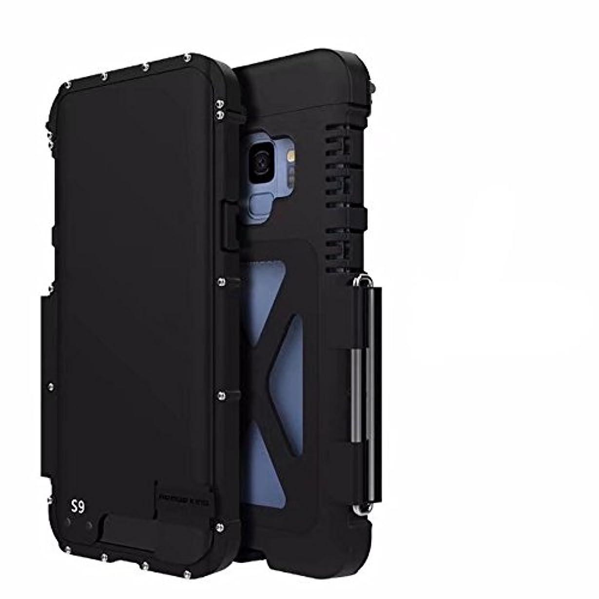 ストラップ経済不誠実【Nelson- JP 】R-JUST正規品 For Samsung Galaxy s9 アルミケース ギャラクシー手帳型 耐衝撃 耐震 防塵 耐久性ステンレス合金カバーバンパー (Galaxy s9, ブラック)