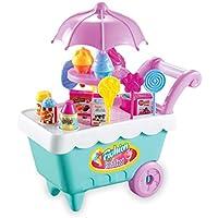 dongba 19ピース キッズ 回転アイスクリーム キャンディ ごっこ遊び 食品 スーパーマーケットトロリー おもちゃ