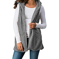 TOOGOO Women Fashion Fur Body Warmer Hooded Vest Waistcoat Ladies Casual Sleeveless Hoodies Coat Outwear Tops Gray S