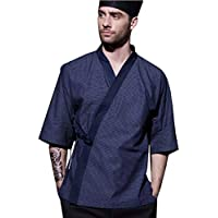 XINFU Men's Japanese Cotton Chef-Coat Short Sleeve Sushi for Men Restaurant Kimono Chef Jacket