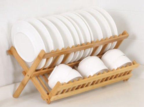 CORCOPI 食器 水切り かご ディッシュラック 竹製 折りたたみ コンパクト X型