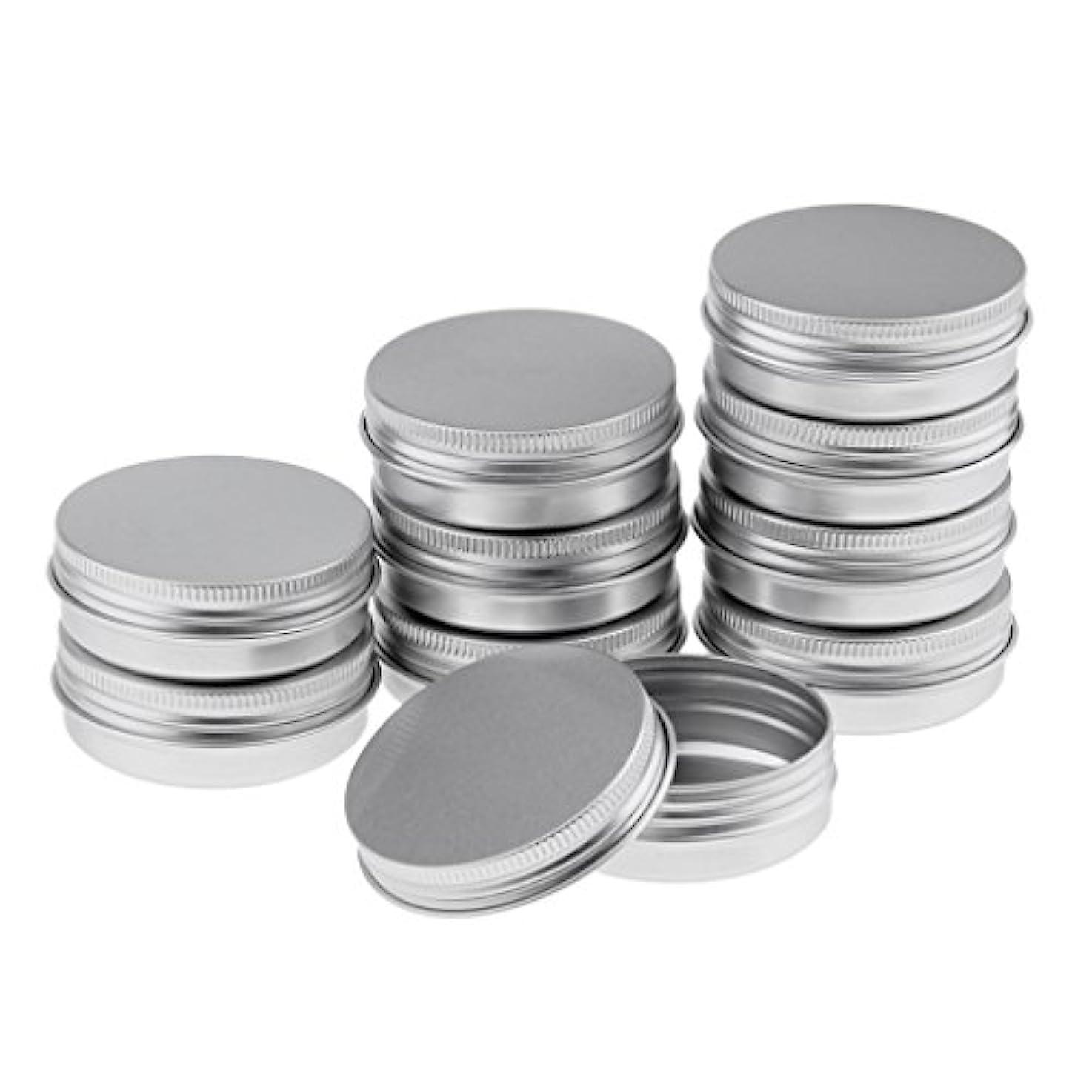 に話す理想的には現代10個 空缶 空ジャー コスメ用 詰替え容器 ラウンド アルミ スクリュー蓋付き 収納 メイク道具 3サイズ選べる - 5.7x2.3 cm