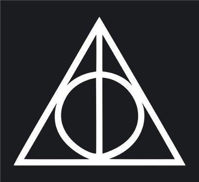 ハリーポッター Harry Potter 死の秘宝 Deathly Hallows ロゴ logo シンボルマーク ステッカー シール (デカール)  ホワイト