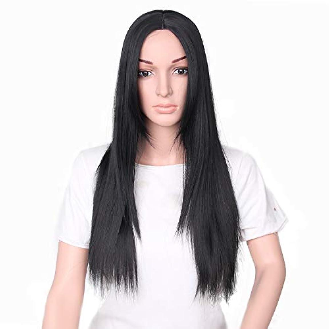 サルベージブラウン幸福YZUEYT 66cm女性ナチュラルセンター分割ロングストレートブラックヘアウィッグ YZUEYT (Size : One size)