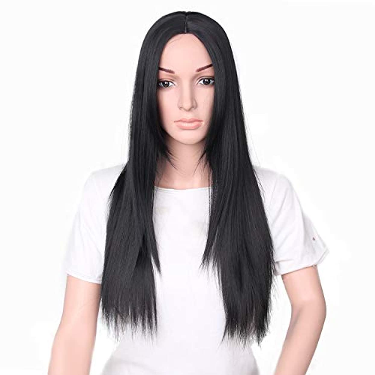 人事つづりシャーロックホームズYZUEYT 66cm女性ナチュラルセンター分割ロングストレートブラックヘアウィッグ YZUEYT (Size : One size)