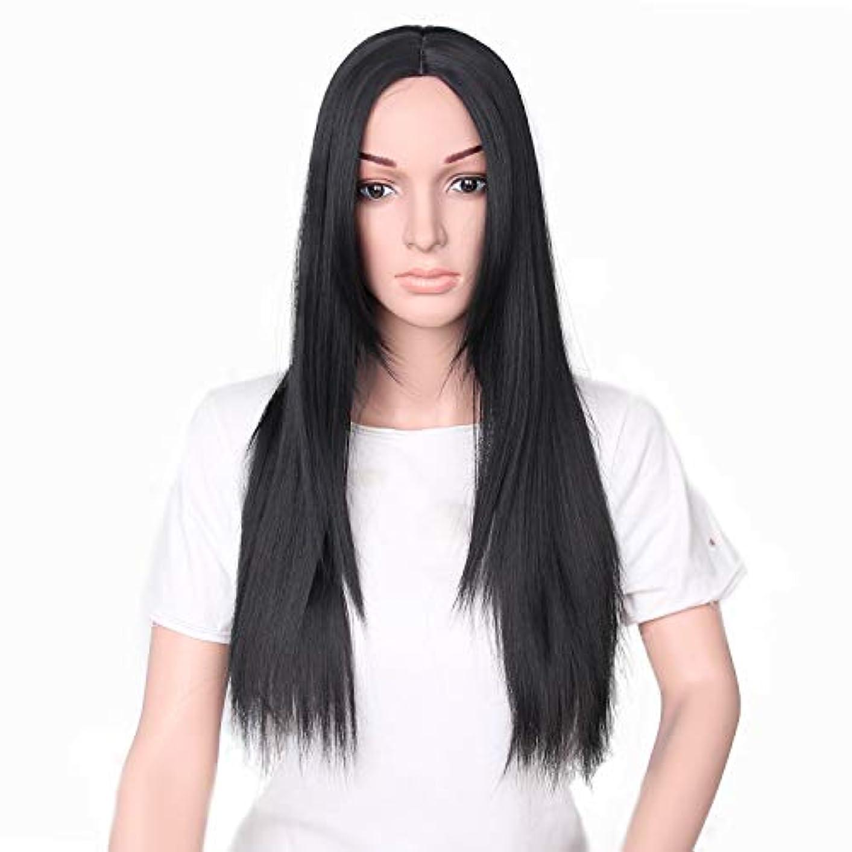 スペル剣ハブYZUEYT 66cm女性ナチュラルセンター分割ロングストレートブラックヘアウィッグ YZUEYT (Size : One size)