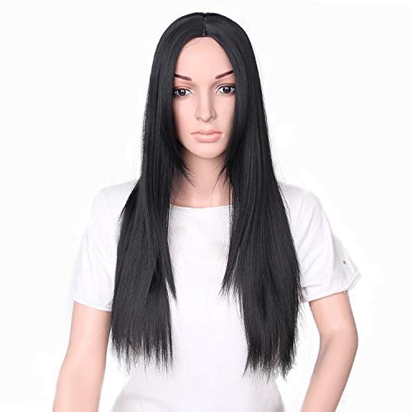 YZUEYT 66cm女性ナチュラルセンター分割ロングストレートブラックヘアウィッグ YZUEYT (Size : One size)