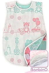 バンビノ 8重 ガーゼスリーパー ベビーサイズ 高品質 オーガニックコットン 寝冷え防止 赤ちゃん 出産祝い (60cm,新生児~3歳頃) (動物園)