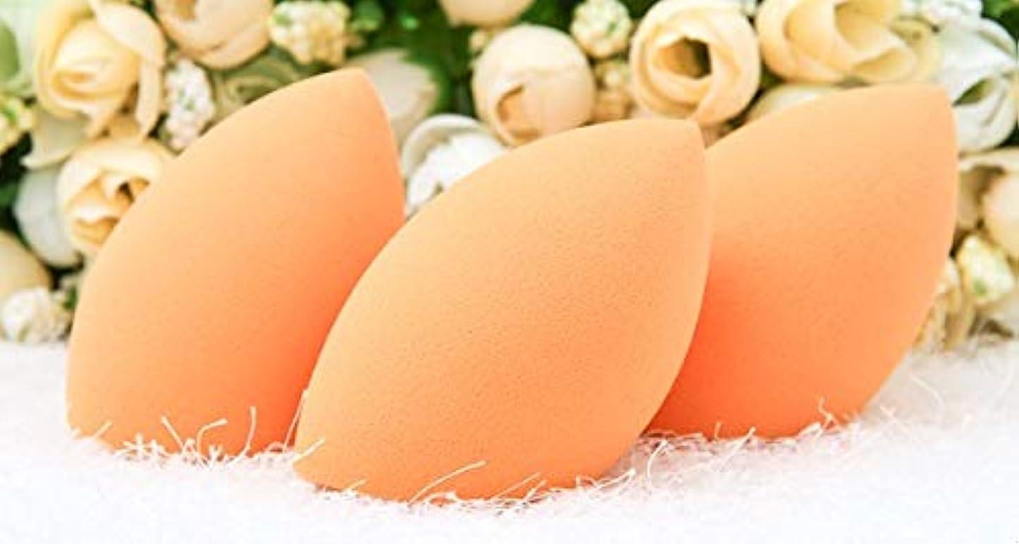 アーティキュレーション嫌悪荷物美容スポンジ、ソフトオリーブクロスカット化粧スポンジ美容卵3パック (Color : Orange)