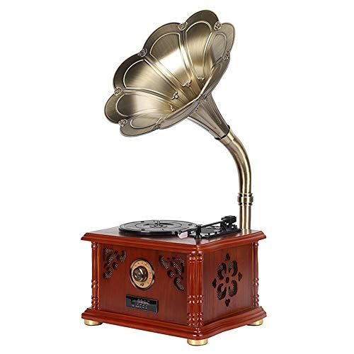 ZXF レトロビニールレコードアンティーク蓄音機のトランペットマシン木製ボックス三角アルミ管運動ルビ...