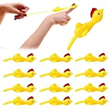 Meifen 20 Pcs Slingshot Chicken Stretchy Flying Chickens Flick Toy Rubber Chicken Toy Novelty Catapult Chicken Funny Finger S