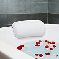 Fypo お風呂 まくら バスピロー 吸盤 滑り止め付 バスタブ 浴槽 リラックス 安眠 ホワイト