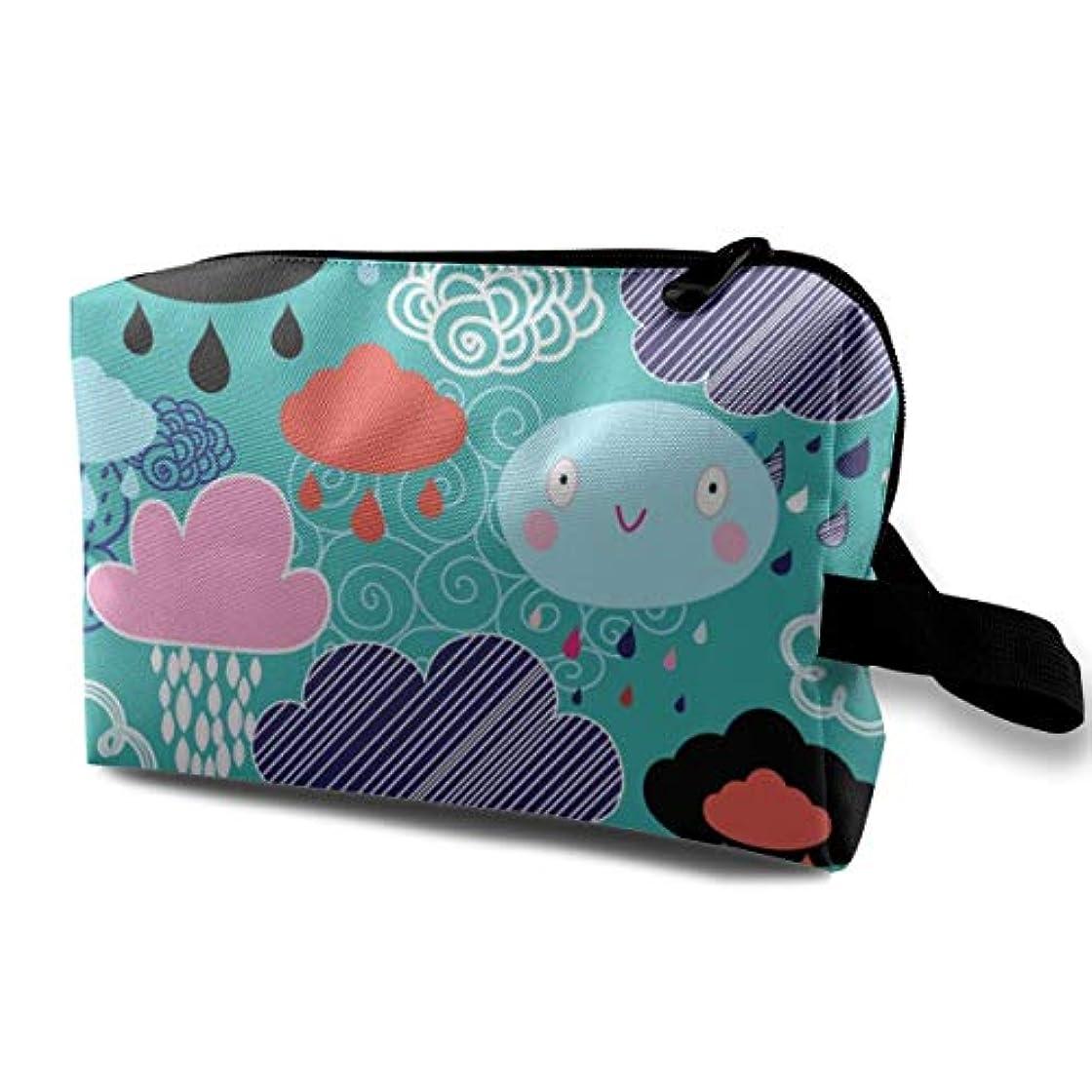 リース銃行くAutumn Clouds Rain 収納ポーチ 化粧ポーチ 大容量 軽量 耐久性 ハンドル付持ち運び便利。入れ 自宅?出張?旅行?アウトドア撮影などに対応。メンズ レディース トラベルグッズ