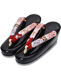 [ 京都きもの町 ] 礼装 草履単品 お花の刺繍鼻緒×黒色台 Mサイズ