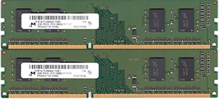 クラブ賭けまともなMicron PC3-12800U (DDR3-1600) 2GB x 2枚組 合計4GB 240ピン DIMM デスクトップパソコン用メモリ 動作保証品【中古】