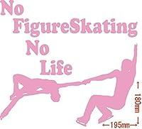 カッティングステッカー No Figure Skating No Life (フィギュア スケート)・16 約180mm×約195mm ピンク 桃