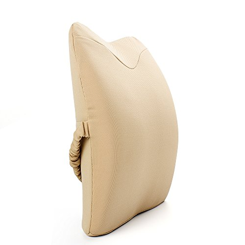 IKSTAR 改良版 薄い アーチ型ランバーサポートクッション 骨盤サポート 背骨のS字カーブを取り戻す シートクッション 腰まくら 腰痛対策 骨盤矯正 背当て 背もたれ 猫背 健康クッション 低反発 通気性メッシュ 車用に最適 (ベージュ)