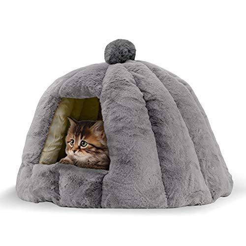 OYANTEN 猫 ベッド ドーム型ベッド ペット用寝袋 猫ハウス 犬小屋 寝袋 ソファ クッション マット あったか 保温防寒 洗える 室内用 ふわふわ 冬用 ぐっすり眠れる 滑り止め グレー