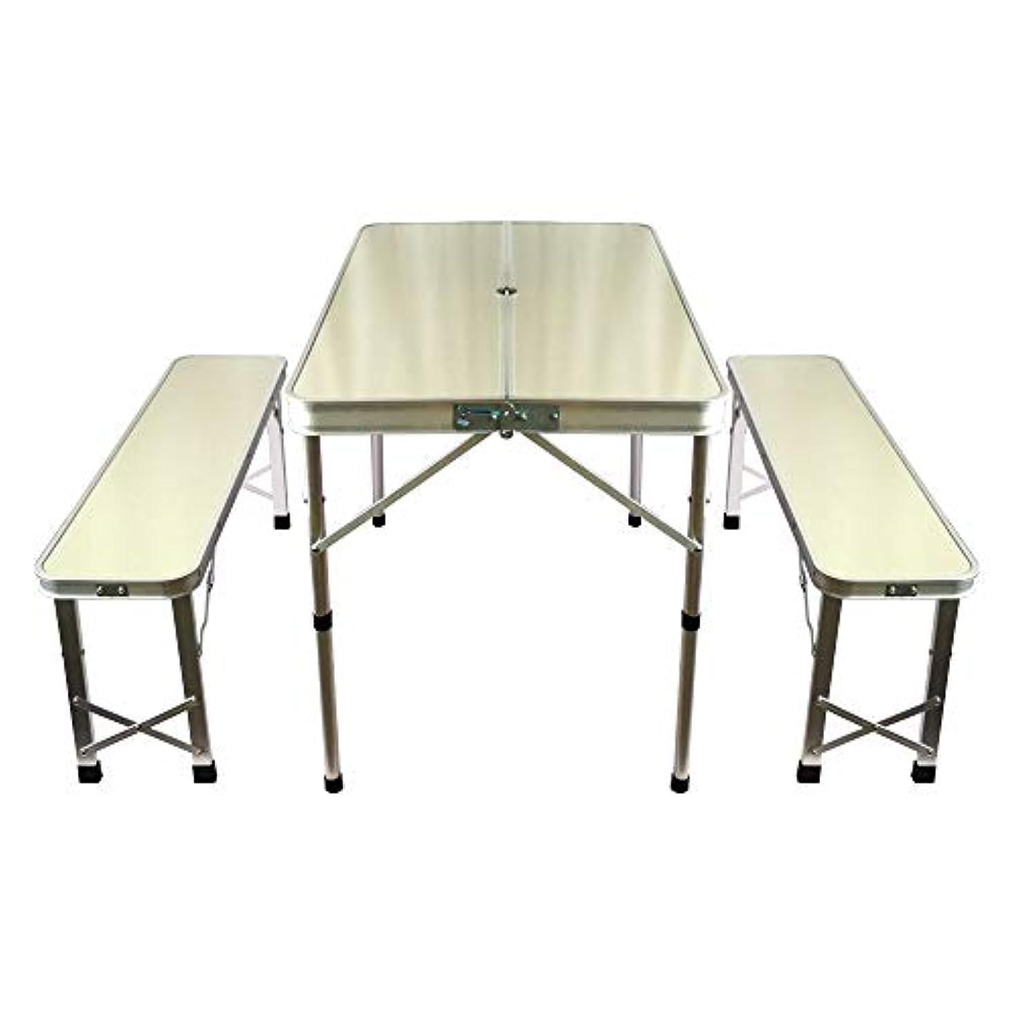 名誉あるピアノを弾く旋律的Hewflitベンチチェア付きアウトドアテーブル 折りたたみレジャーテーブル 高さ2段階 調節可能 ベンチセット キャンプ用品 [並行輸入品]