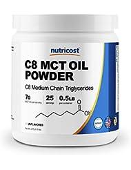 Nutricost C8 MCTオイル パウダー 0.5LB (ノンフレーバー味)、C8(95%)、非GMO、グルテンフリー