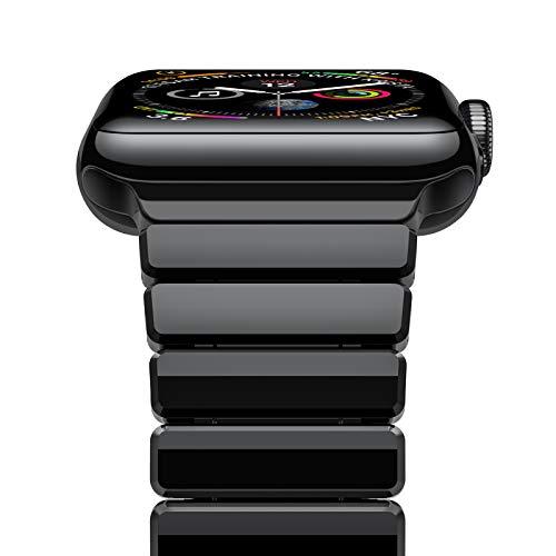 Oittm Apple Watch Series 4 バンド 44mm アップルウォッチ 交換 ベルト ステンレス スチール ビジネス 調整工具付 アダプター付き Apple Watch 金属 バンド 全機種対応 Apple Watch Series 4/3/2/1/ 44/42mm に対応 (明るい ブラック)