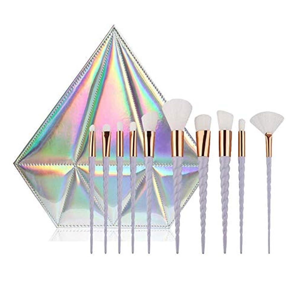 雑品有能な生息地10 PCSクリエイティブデザインキリンメイクブラシツールハンドル形状に配置されたアイシャドウブラッシャーブラシ白いレーヨン基礎バッグやダイヤモンド