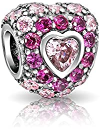 Hot Pink Fuchsia Cubic Zirconia CZ Pave Heart Charm Bead For Women Girlfriend Sterling Silver For European Bracelet