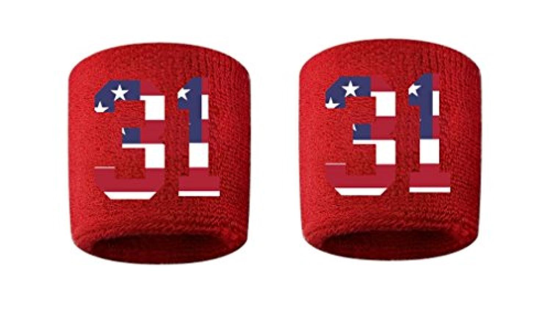 # 31刺繍/ステッチ汗止めバンドリストバンドレッドSweat Band w / USAアメリカ国旗数( 2パック)