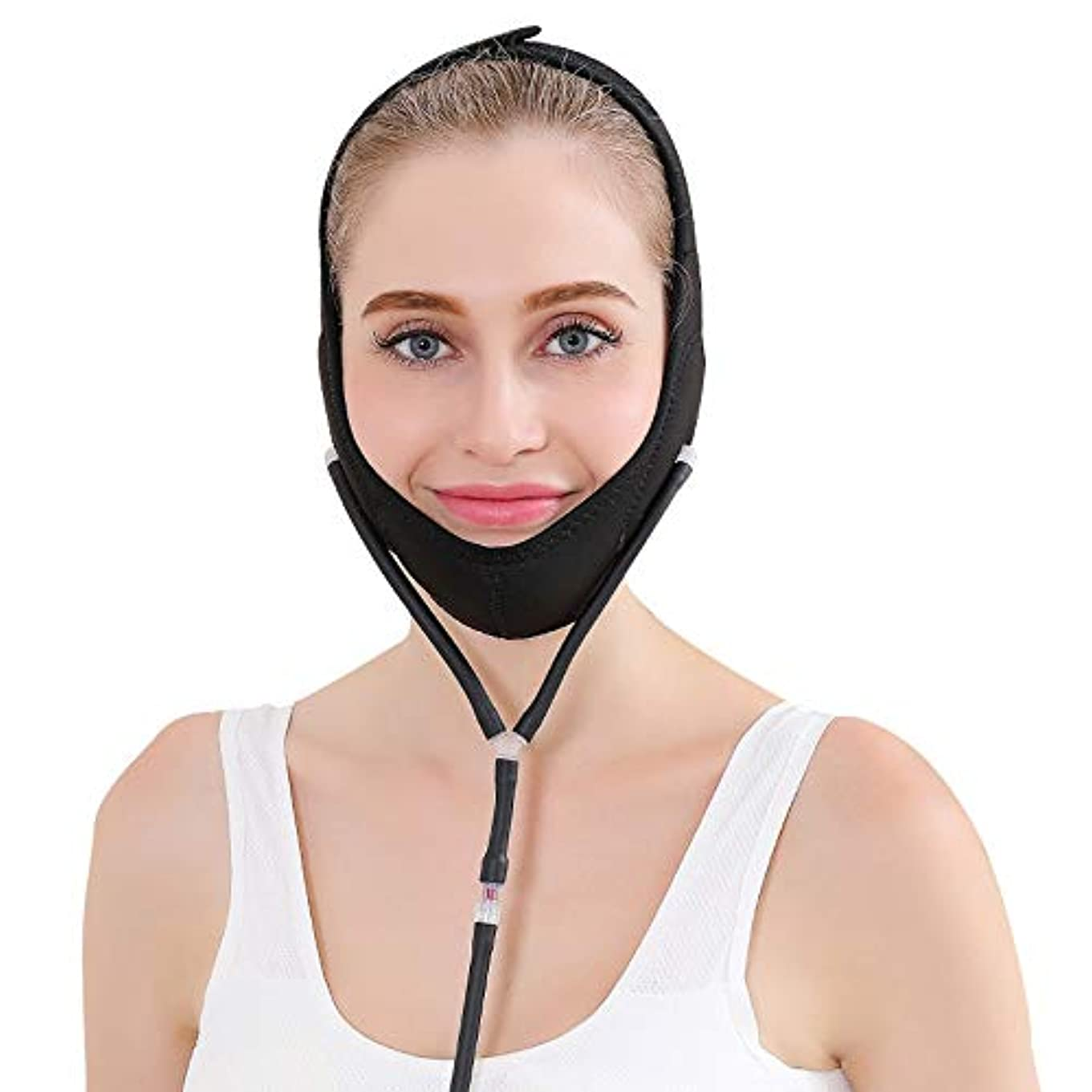 プラス位置する役割YOE(ヨイ) エアー 顔やせ マスク 小顔 ほうれい線 空気入れ エアーポンプ 顔のエクササイズ フェイスリフト レディース (フリーサイズ, ブラック)
