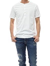(チルコロ1901)CIRCOLO1901 メンズヘンリーネックTシャツ CN1816 ホワイト [並行輸入品]
