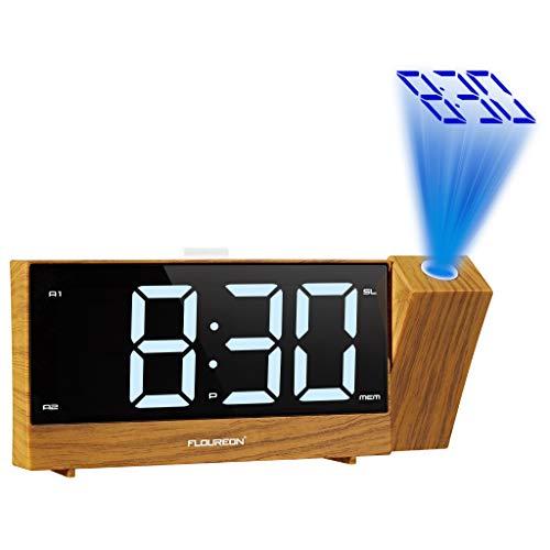 FLOUREON 投影時計 置き時計 目覚まし時計 デジタル時計 デジタル時計 投影目覚まし時計 デュアル目覚まし時計 デジタルラジオ 2つのUSB充電ポート 【12ヶ月保証付き】