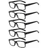 Eyekepper 5-Pack Spring Hinges Vintage Reading Glasses Men Readers Black +1.5