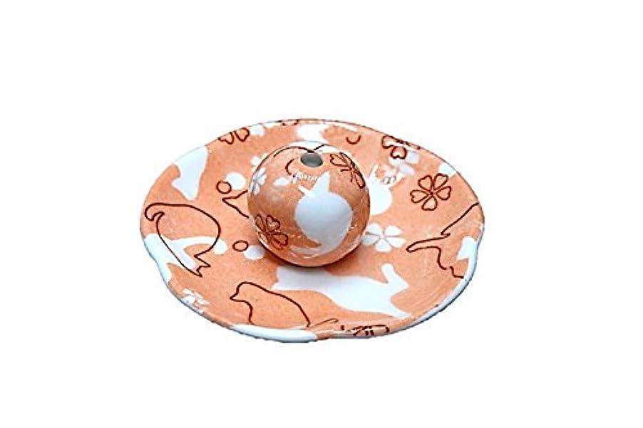 ファーム近々海外ねこランド オレンジ 花形香皿 お香立て ネコ 猫 ACSWEBSHOPオリジナル