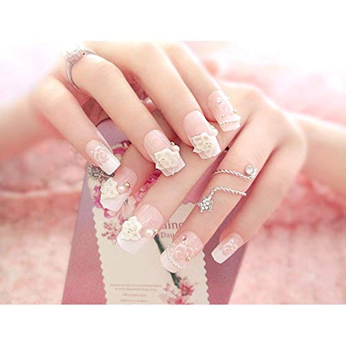 ヶ月目慢呼吸YESONEEP ホワイト+ピンクは、偽の釘24ピース箱入りフェイクネイルパール花の花嫁ネイルステッカーを完成しました (色 : 24 pieces)