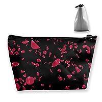 ロマンチックな赤いバラの花びらの女性化粧品バッグ多機能トイレタリーオーガナイザーバッグ、ジッパー付きハンドポータブルポーチトラベルウォッシュストレージ容量(台形)