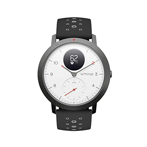 Withings Steel HR Sport フランス生まれのスマートウォッチ ホワイト 歩数 消費カロリー 心拍数 睡眠データ記録 最大25時間充電持続 【日本正規代理店品】 HWA03B-40white-sport-all-Asia
