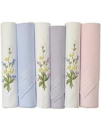 Etho 6レディース染めと刺繍Boxedハンカチ綿100 %