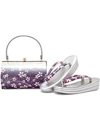 草履バッグセット 紫系 パープル ピンク 銀色 シルバー グラデーション 桜 さくら 花 ラメ 二枚芯 振袖向け 草履バックセット フリーサイズ