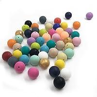 Kissteether 50pcs 0.59インチ(15ミリメートル)自然食品グレードシリコーンおしゃぶりビーズの赤ちゃんのおもちゃDIYネックレス/ブレスレットアクセサリーラウンドシリカビーズを混合色 (50pcs)