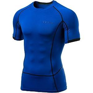 MUB13-BLU_M (テスラ)TESLA 半袖 ラウンドネック スポーツシャツ [UVカット・吸汗速乾] コンプレッションウェア パワーストレッチ アンダーウェア