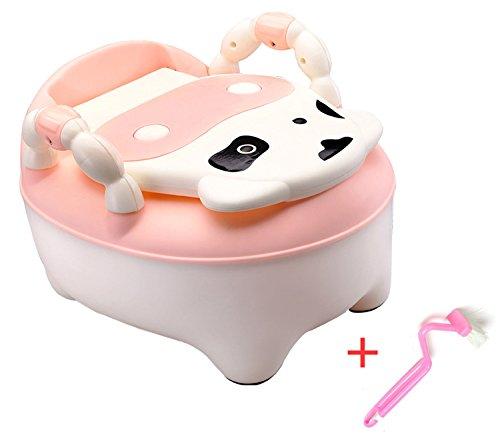 ベビー トレーニング おまる 便座+チェア+ステップ 3WAY 洋式トイレ子供用便座便器 かわいい デザイン (ピンク)