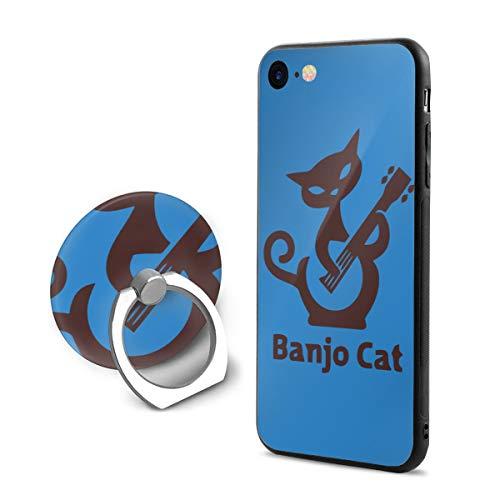 SuperIE IPhone 7 IPhone 8 専用 携帯カバー リング付き バンジョー 猫 ソフト 耐衝撃 指紋防止 全面保護 脱着簡単 スクラッチ防止 スマホ アイフォンケース