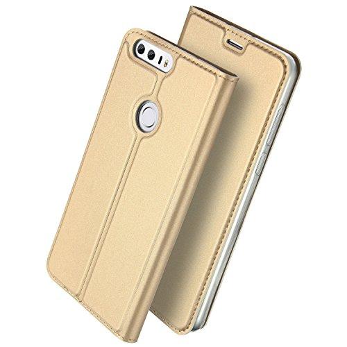 Honor 8 手帳型 ケース、Uniqe 軽量 Huawei Honor8 専用 ポケット カード収納あり マグネット スタンド機能付き [高級 PU レザー+TPU素材] 耐衝撃 全面保護カバー (Honor 8, ゴールデン)