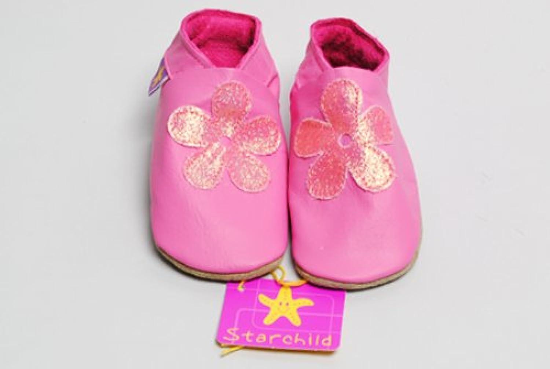 【英国製カーフレザーベビーシューズ】《はなびら ピンク blossom pink/glitter Mサイズ》