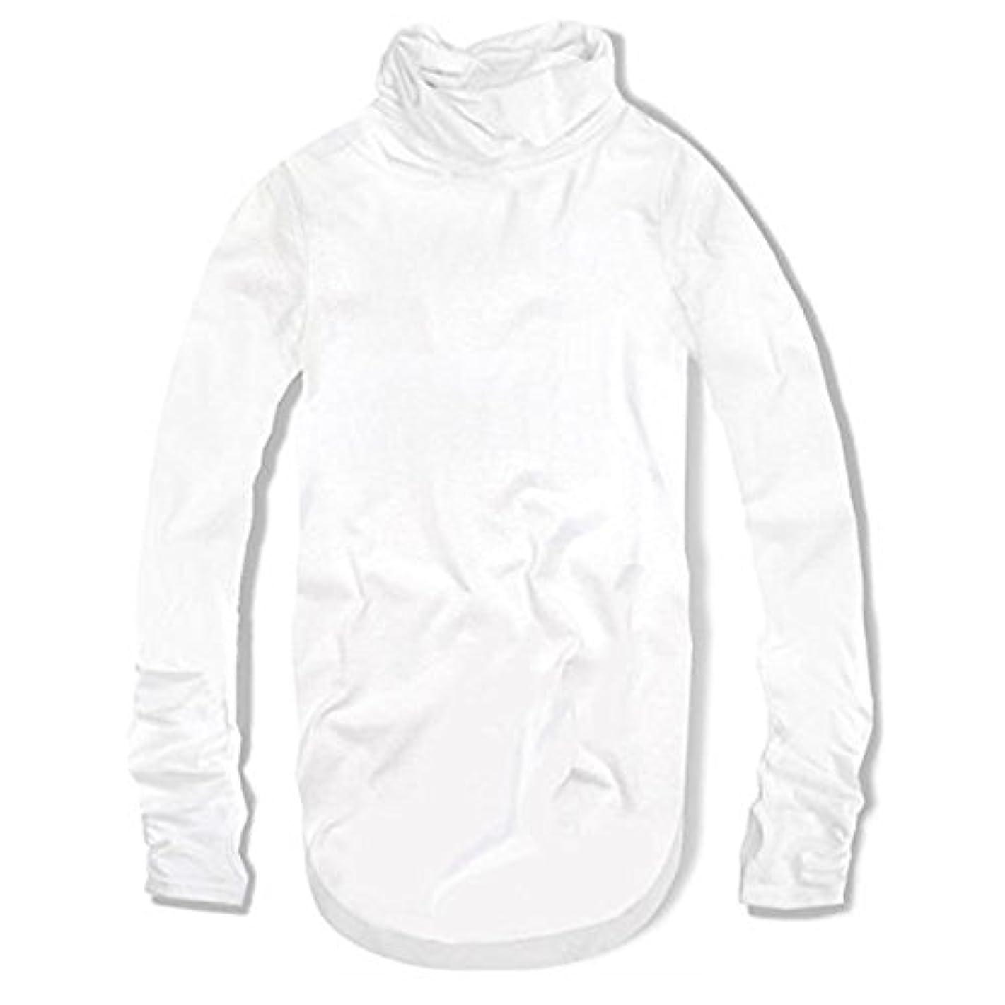 納屋ブルゴーニュ持続するスワンユニオン swanunion 指穴付き ハイネック タートルネック メンズ ロング丈 長袖 Tシャツ ホワイト 白 f80
