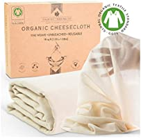 Cheesecloth for Straining - Certified Organic Cotton - Fine Reusable Unbleached Cooking Filter (Large Cut 1.5m x 1.0m)